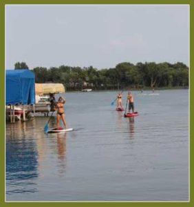 Paddle boarding near Mankato, Minnesota on Lake Washington
